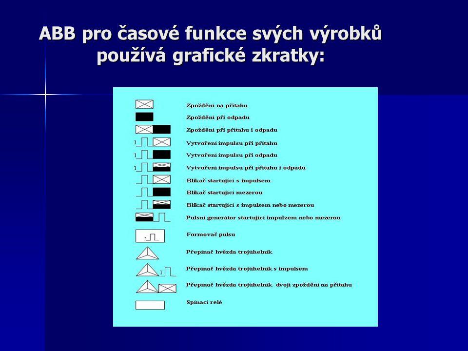 ABB pro časové funkce svých výrobků používá grafické zkratky: