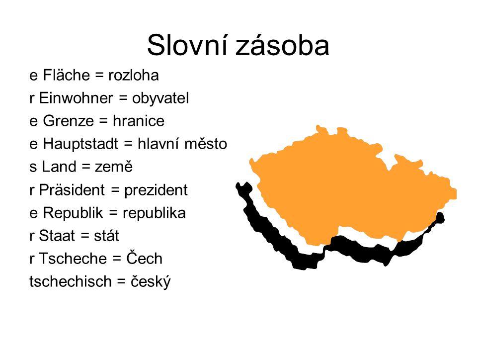 Slovní zásoba e Fläche = rozloha r Einwohner = obyvatel e Grenze = hranice e Hauptstadt = hlavní město s Land = země r Präsident = prezident e Republik = republika r Staat = stát r Tscheche = Čech tschechisch = český