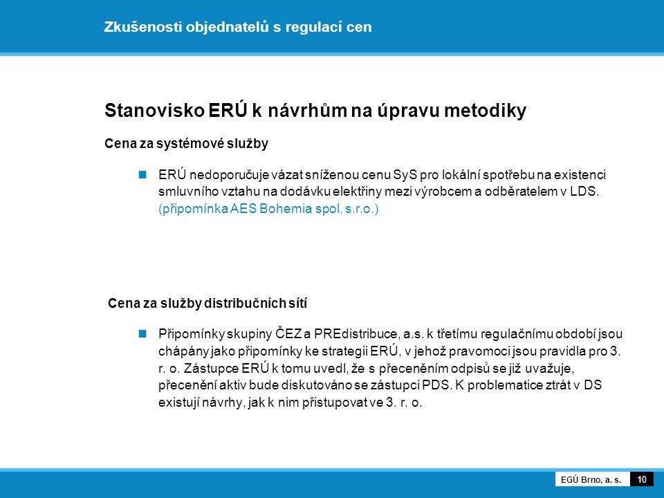 Zkušenosti objednatelů s regulací cen Stanovisko ERÚ k návrhům na úpravu metodiky Cena za systémové služby ERÚ nedoporučuje vázat sníženou cenu SyS pr