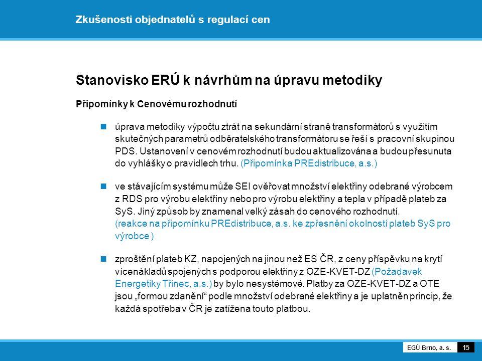 Zkušenosti objednatelů s regulací cen Stanovisko ERÚ k návrhům na úpravu metodiky Připomínky k Cenovému rozhodnutí úprava metodiky výpočtu ztrát na se