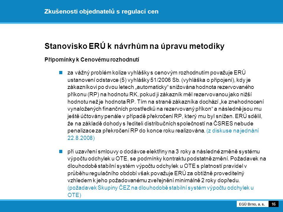 Zkušenosti objednatelů s regulací cen Stanovisko ERÚ k návrhům na úpravu metodiky Připomínky k Cenovému rozhodnutí za vážný problém kolize vyhlášky s cenovým rozhodnutím považuje ERÚ ustanovení odstavce (5) vyhlášky 51/2006 Sb.