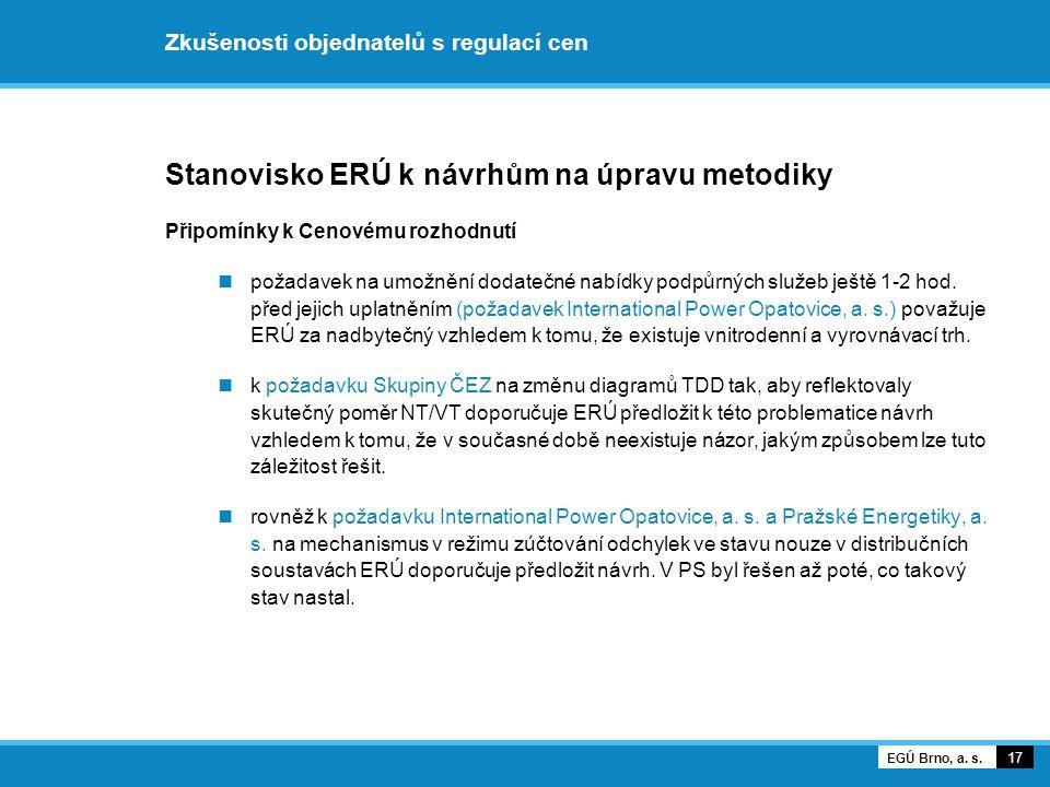 Zkušenosti objednatelů s regulací cen Stanovisko ERÚ k návrhům na úpravu metodiky Připomínky k Cenovému rozhodnutí požadavek na umožnění dodatečné nab