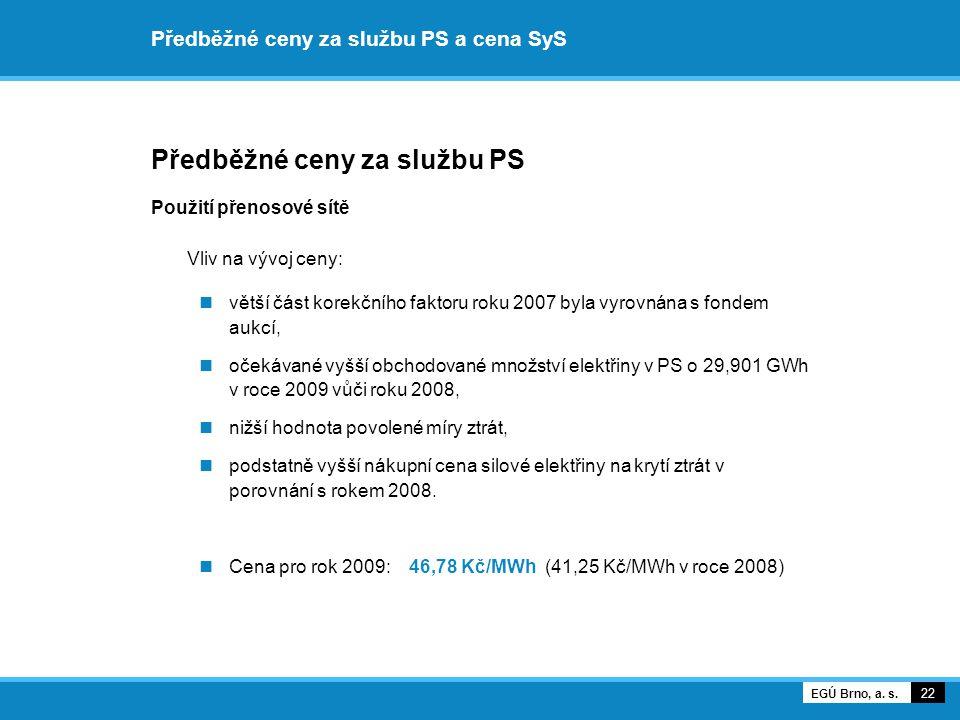 Předběžné ceny za službu PS a cena SyS Předběžné ceny za službu PS Použití přenosové sítě Vliv na vývoj ceny: větší část korekčního faktoru roku 2007