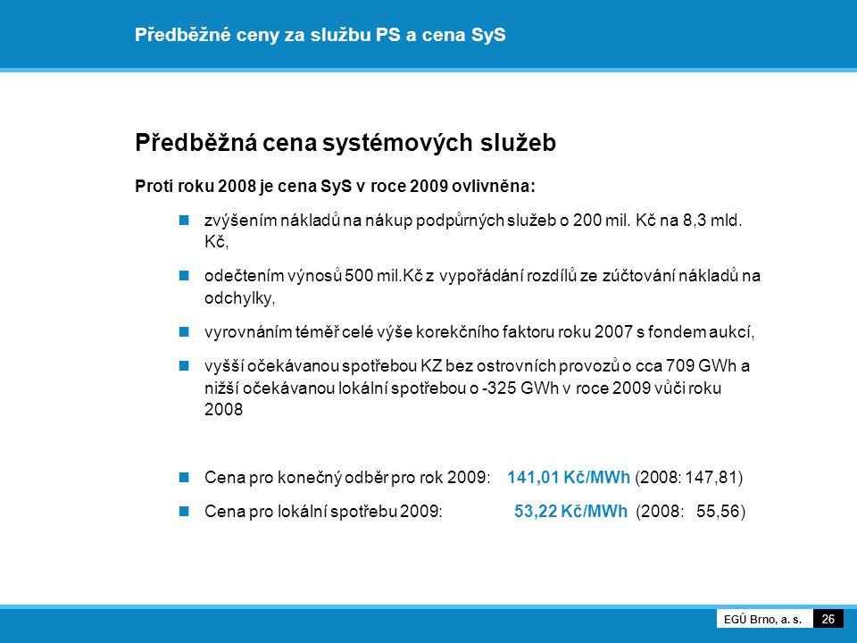 Předběžné ceny za službu PS a cena SyS Předběžná cena systémových služeb Proti roku 2008 je cena SyS v roce 2009 ovlivněna: zvýšením nákladů na nákup podpůrných služeb o 200 mil.