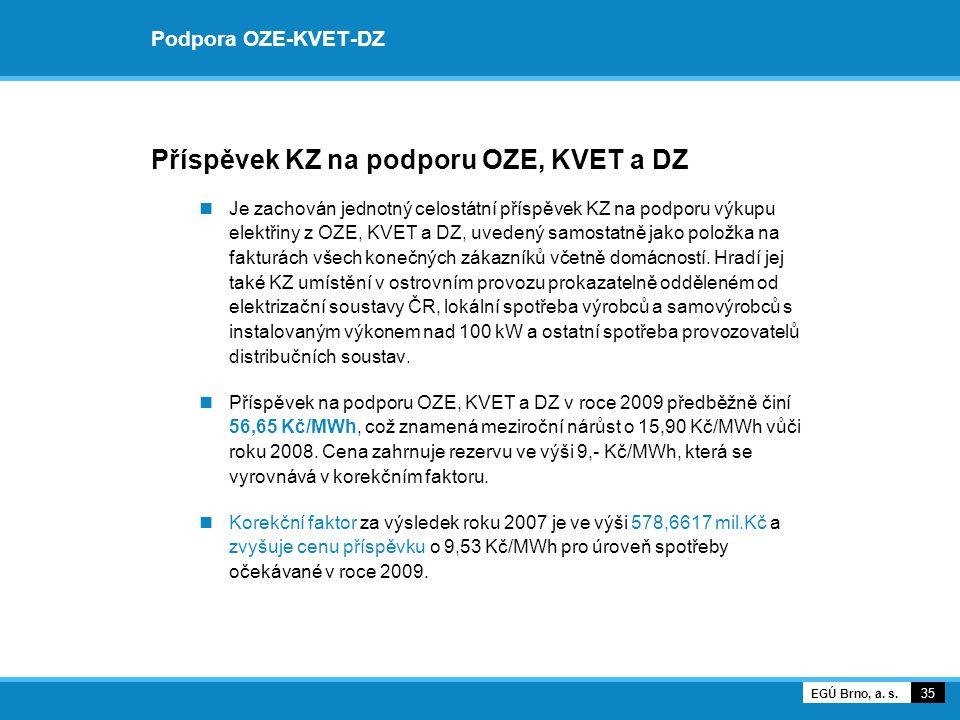 Podpora OZE-KVET-DZ Příspěvek KZ na podporu OZE, KVET a DZ Je zachován jednotný celostátní příspěvek KZ na podporu výkupu elektřiny z OZE, KVET a DZ, uvedený samostatně jako položka na fakturách všech konečných zákazníků včetně domácností.