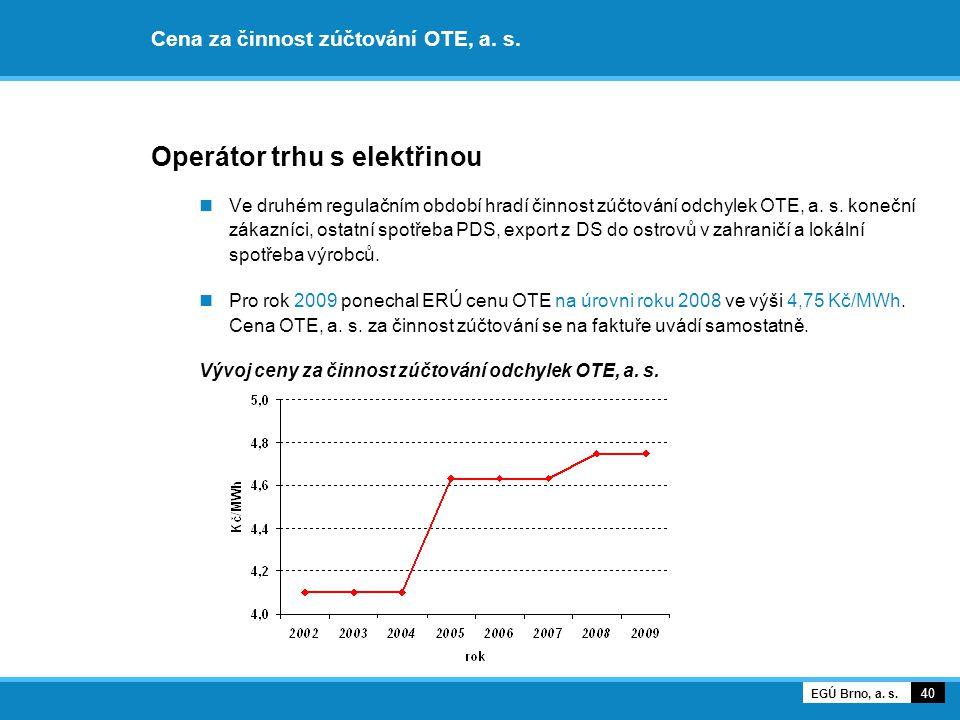 Cena za činnost zúčtování OTE, a. s. Operátor trhu s elektřinou Ve druhém regulačním období hradí činnost zúčtování odchylek OTE, a. s. koneční zákazn