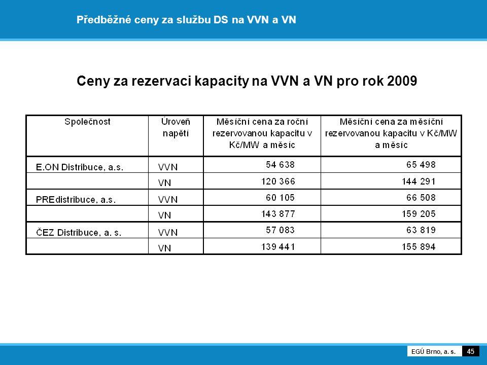 Předběžné ceny za službu DS na VVN a VN Ceny za rezervaci kapacity na VVN a VN pro rok 2009 45 EGÚ Brno, a. s.