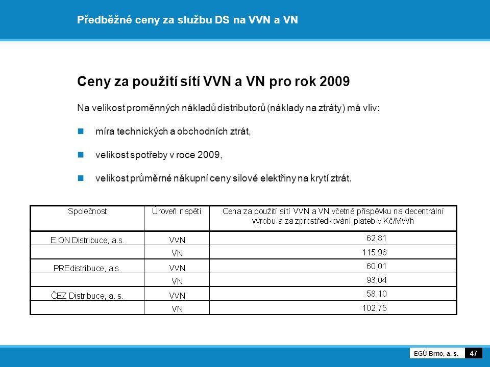 Předběžné ceny za službu DS na VVN a VN Ceny za použití sítí VVN a VN pro rok 2009 Na velikost proměnných nákladů distributorů (náklady na ztráty) má vliv: míra technických a obchodních ztrát, velikost spotřeby v roce 2009, velikost průměrné nákupní ceny silové elektřiny na krytí ztrát.
