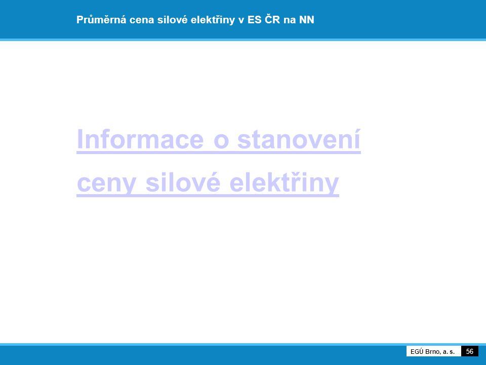 Průměrná cena silové elektřiny v ES ČR na NN Informace o stanovení ceny silové elektřiny 56 EGÚ Brno, a.