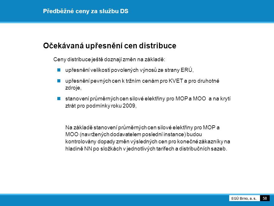 Předběžné ceny za službu DS Očekávaná upřesnění cen distribuce Ceny distribuce ještě doznají změn na základě: upřesnění velikosti povolených výnosů ze