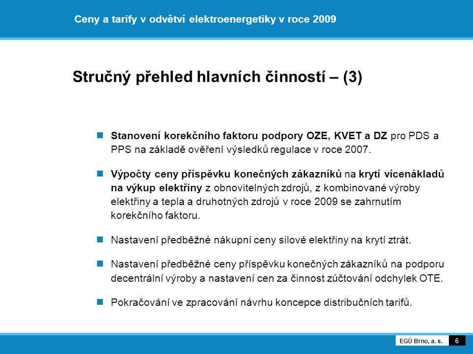 Ceny a tarify v odvětví elektroenergetiky v roce 2009 Stručný přehled hlavních činností – (3) Stanovení korekčního faktoru podpory OZE, KVET a DZ pro