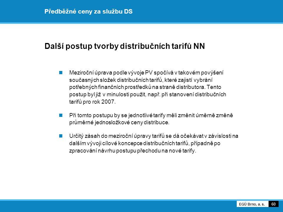 Předběžné ceny za službu DS Další postup tvorby distribučních tarifů NN Meziroční úprava podle vývoje PV spočívá v takovém povýšení současných složek distribučních tarifů, které zajistí vybrání potřebných finančních prostředků na straně distributora.