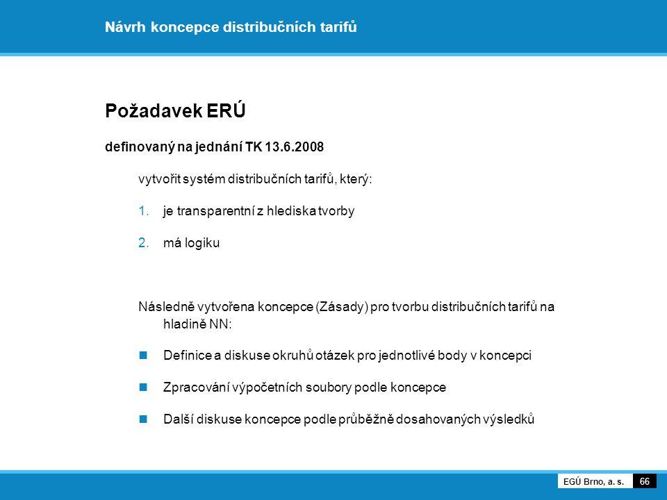 Návrh koncepce distribučních tarifů Požadavek ERÚ definovaný na jednání TK 13.6.2008 vytvořit systém distribučních tarifů, který: 1.je transparentní z hlediska tvorby 2.má logiku Následně vytvořena koncepce (Zásady) pro tvorbu distribučních tarifů na hladině NN: Definice a diskuse okruhů otázek pro jednotlivé body v koncepci Zpracování výpočetních soubory podle koncepce Další diskuse koncepce podle průběžně dosahovaných výsledků 66 EGÚ Brno, a.
