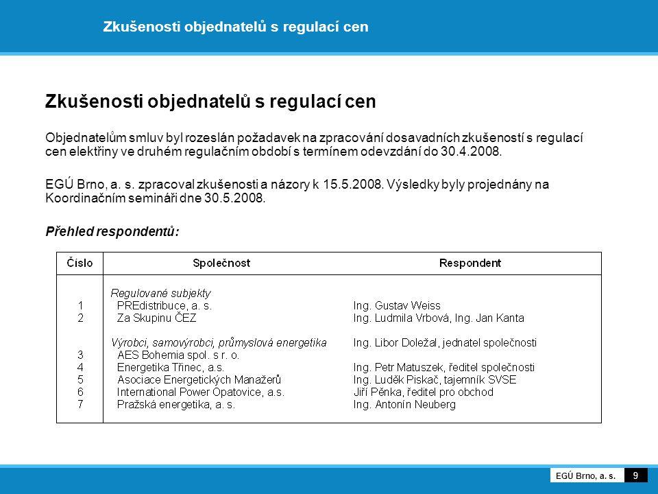 Zkušenosti objednatelů s regulací cen Objednatelům smluv byl rozeslán požadavek na zpracování dosavadních zkušeností s regulací cen elektřiny ve druhém regulačním období s termínem odevzdání do 30.4.2008.