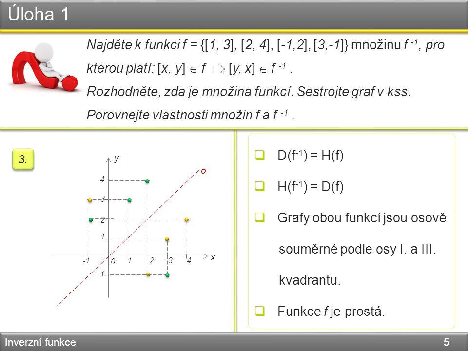 Úloha 1 Inverzní funkce 5 Najděte k funkci f = {[1, 3], [2, 4], [-1,2], [3,-1]} množinu f -1, pro kterou platí: [x, y]  f  [y, x]  f -1. Rozhodněte