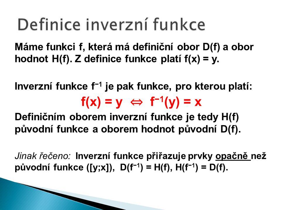 Původní funkce, ke které určuji inverzní funkci musí být prostá, tzn.