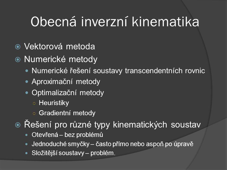 Obecná inverzní kinematika  Vektorová metoda  Numerické metody Numerické řešení soustavy transcendentních rovnic Aproximační metody Optimalizační me