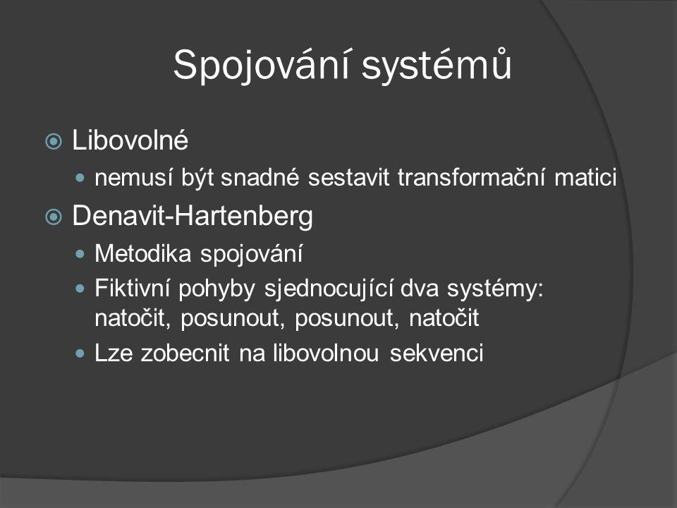 Spojování systémů  Libovolné nemusí být snadné sestavit transformační matici  Denavit-Hartenberg Metodika spojování Fiktivní pohyby sjednocující dva