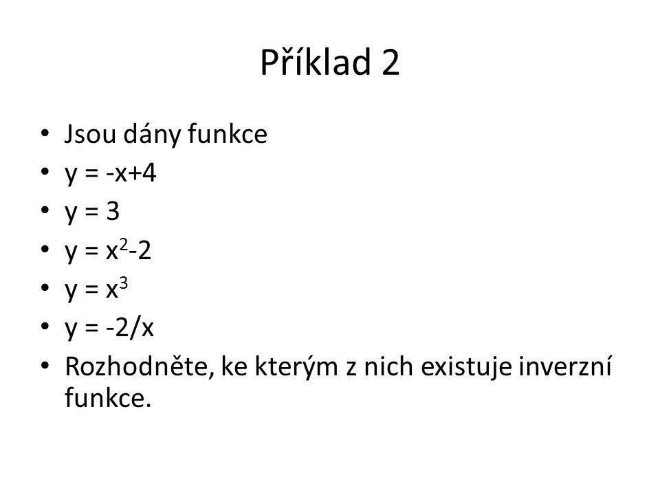 Příklad 2 Jsou dány funkce y = -x+4 y = 3 y = x 2 -2 y = x 3 y = -2/x Rozhodněte, ke kterým z nich existuje inverzní funkce.