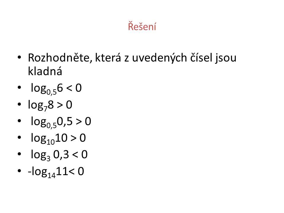 Řešení Rozhodněte, která z uvedených čísel jsou kladná log 0,5 6 < 0 log 7 8 > 0 log 0,5 0,5 > 0 log 10 10 > 0 log 3 0,3 < 0 -log 14 11< 0