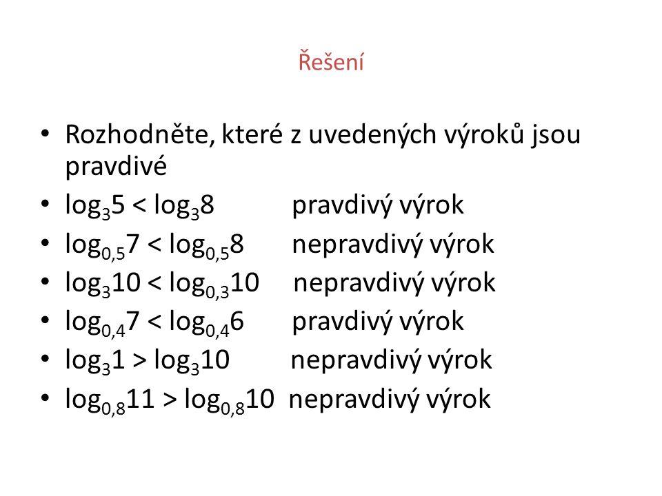 Řešení Rozhodněte, které z uvedených výroků jsou pravdivé log 3 5 < log 3 8 pravdivý výrok log 0,5 7 < log 0,5 8 nepravdivý výrok log 3 10 < log 0,3 10 nepravdivý výrok log 0,4 7 < log 0,4 6 pravdivý výrok log 3 1 > log 3 10 nepravdivý výrok log 0,8 11 > log 0,8 10 nepravdivý výrok
