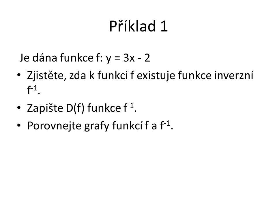 Příklad 1 Je dána funkce f: y = 3x - 2 Zjistěte, zda k funkci f existuje funkce inverzní f -1. Zapište D(f) funkce f -1. Porovnejte grafy funkcí f a f