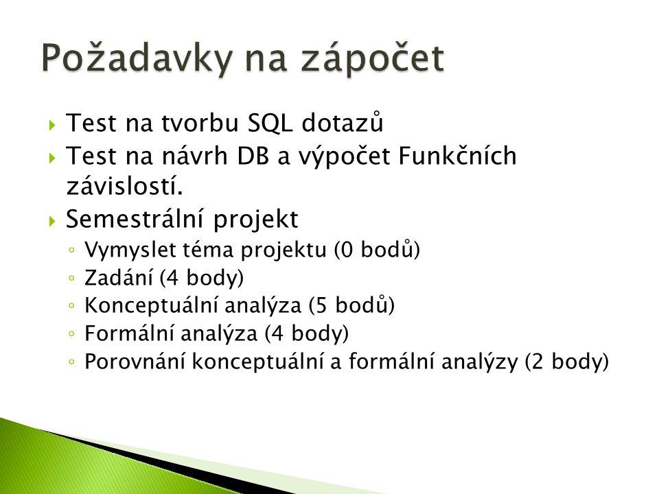  Test na tvorbu SQL dotazů  Test na návrh DB a výpočet Funkčních závislostí.  Semestrální projekt ◦ Vymyslet téma projektu (0 bodů) ◦ Zadání (4 bod