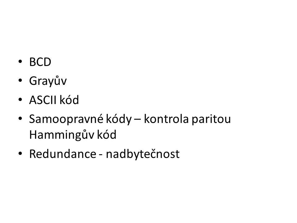 BCD Grayův ASCII kód Samoopravné kódy – kontrola paritou Hammingův kód Redundance - nadbytečnost