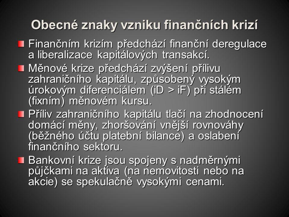 Obecné znaky vzniku finančních krizí Finančním krizím předchází finanční deregulace a liberalizace kapitálových transakcí.