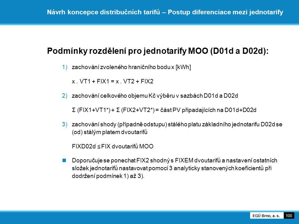 Návrh koncepce distribučních tarifů – Postup diferenciace mezi jednotarify Podmínky rozdělení pro jednotarify MOO (D01d a D02d): 1)zachování zvoleného