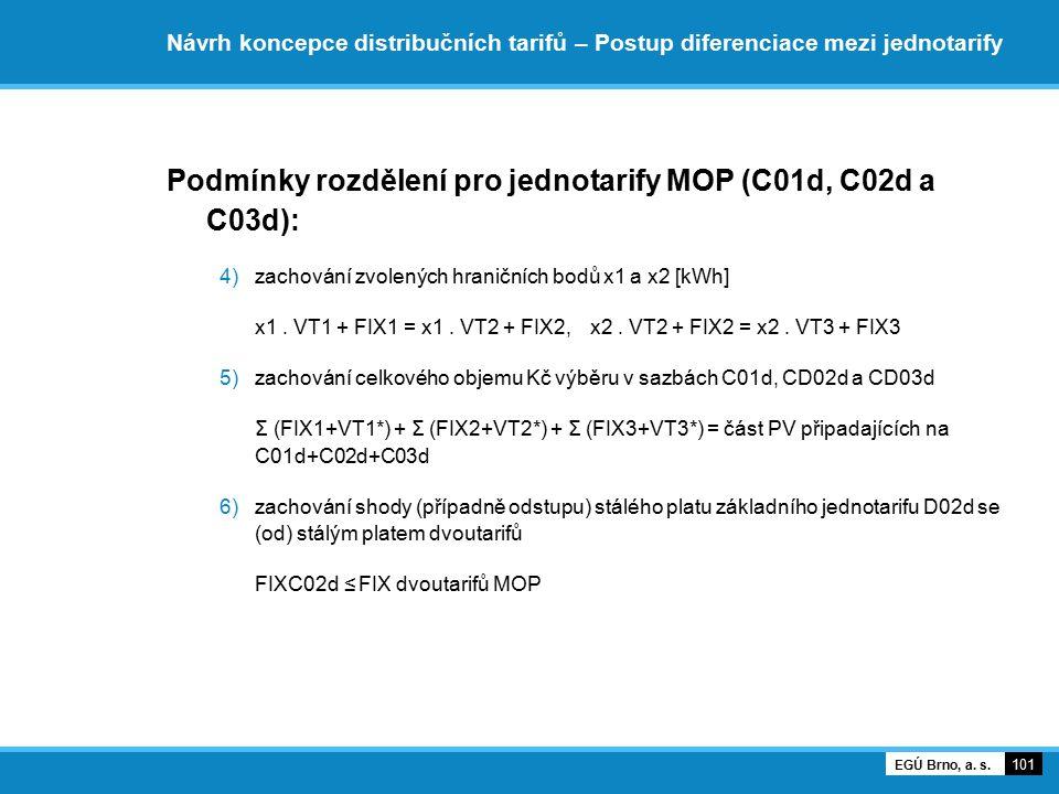 Návrh koncepce distribučních tarifů – Postup diferenciace mezi jednotarify Podmínky rozdělení pro jednotarify MOP (C01d, C02d a C03d): 4)zachování zvo