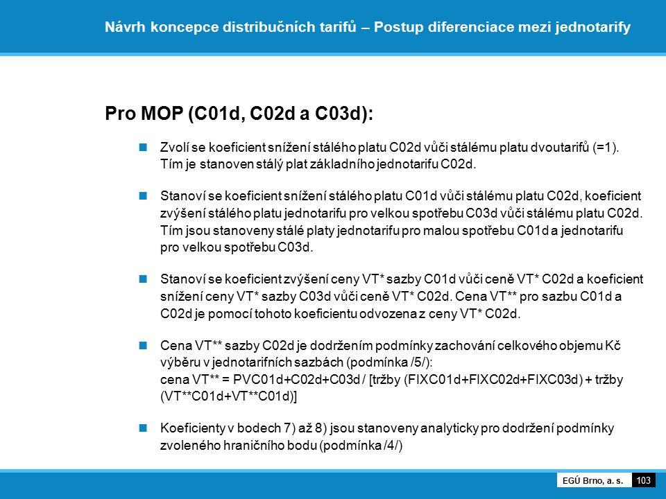Návrh koncepce distribučních tarifů – Postup diferenciace mezi jednotarify Pro MOP (C01d, C02d a C03d): Zvolí se koeficient snížení stálého platu C02d