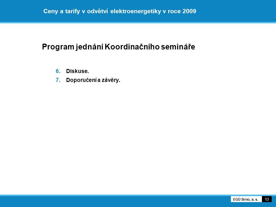 Ceny a tarify v odvětví elektroenergetiky v roce 2009 Program jednání Koordinačního semináře 6.Diskuse. 7.Doporučení a závěry. 13 EGÚ Brno, a. s.