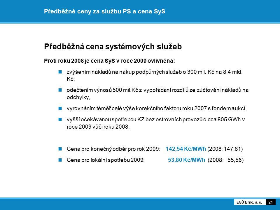 Předběžné ceny za službu PS a cena SyS Předběžná cena systémových služeb Proti roku 2008 je cena SyS v roce 2009 ovlivněna: zvýšením nákladů na nákup