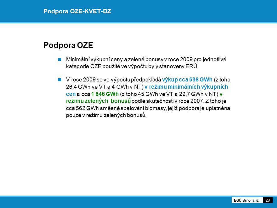 Podpora OZE-KVET-DZ Podpora OZE Minimální výkupní ceny a zelené bonusy v roce 2009 pro jednotlivé kategorie OZE použité ve výpočtu byly stanoveny ERÚ.