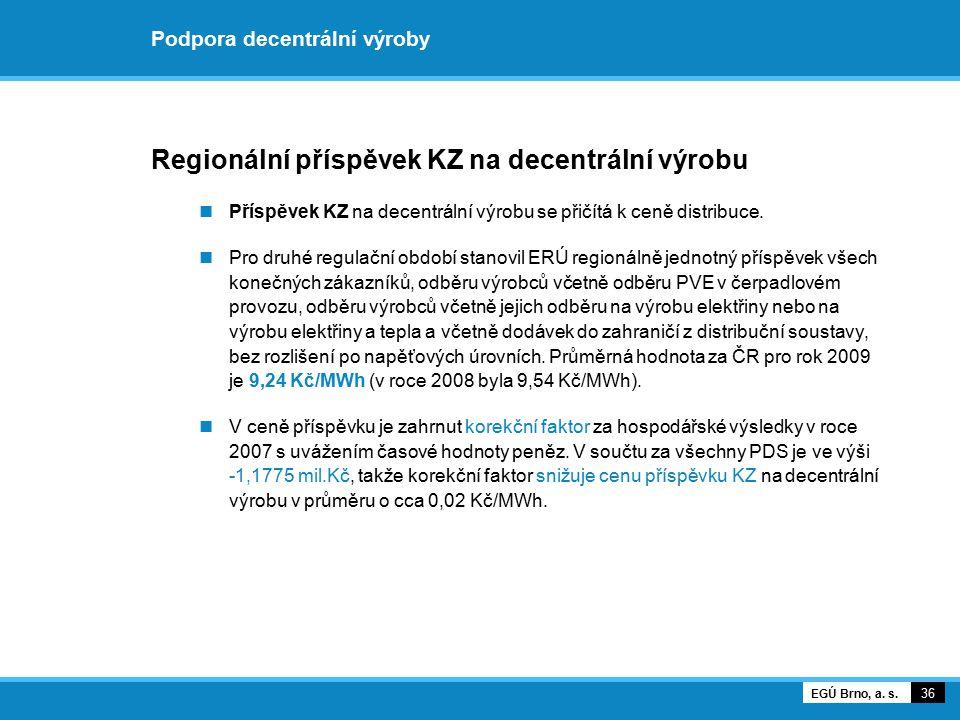 Podpora decentrální výroby Regionální příspěvek KZ na decentrální výrobu Příspěvek KZ na decentrální výrobu se přičítá k ceně distribuce. Pro druhé re