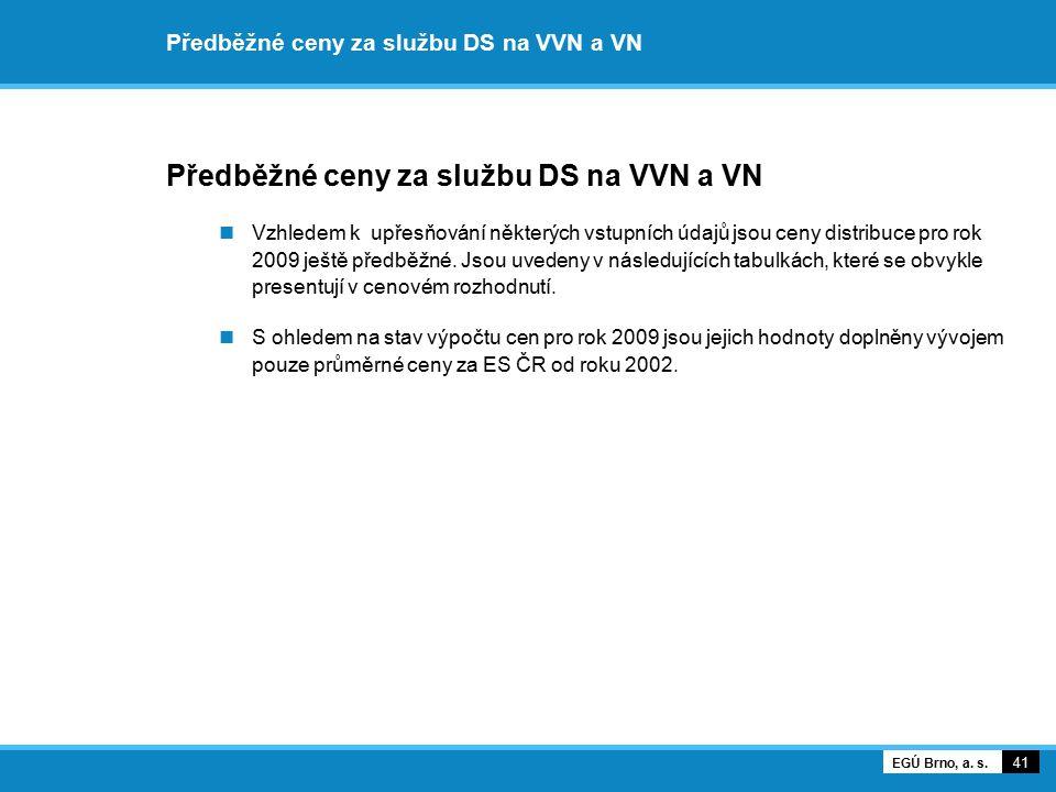 Předběžné ceny za službu DS na VVN a VN Vzhledem k upřesňování některých vstupních údajů jsou ceny distribuce pro rok 2009 ještě předběžné. Jsou uvede