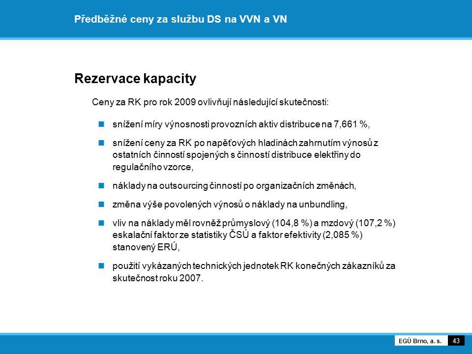Předběžné ceny za službu DS na VVN a VN Rezervace kapacity Ceny za RK pro rok 2009 ovlivňují následující skutečnosti: snížení míry výnosnosti provozní