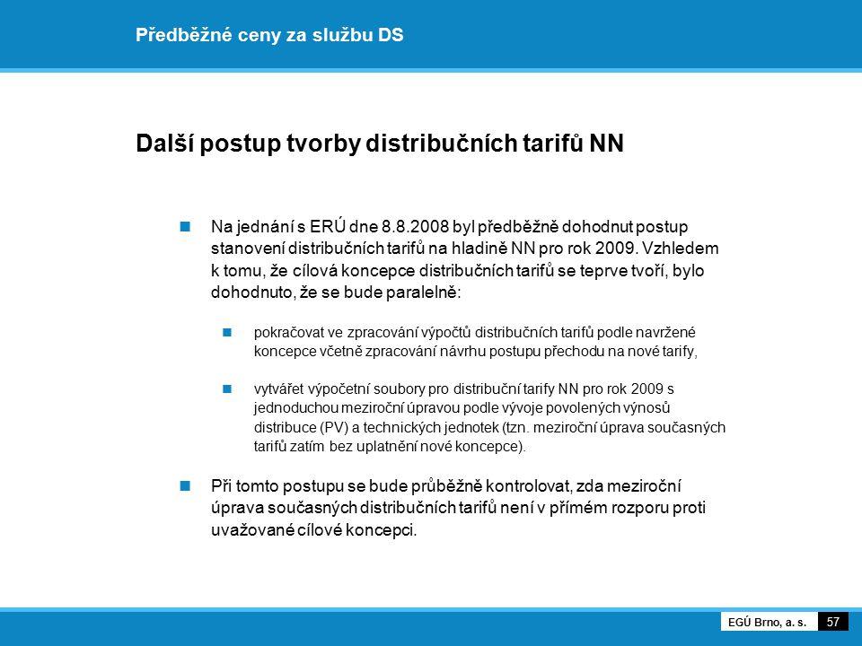 Předběžné ceny za službu DS Další postup tvorby distribučních tarifů NN Na jednání s ERÚ dne 8.8.2008 byl předběžně dohodnut postup stanovení distribu