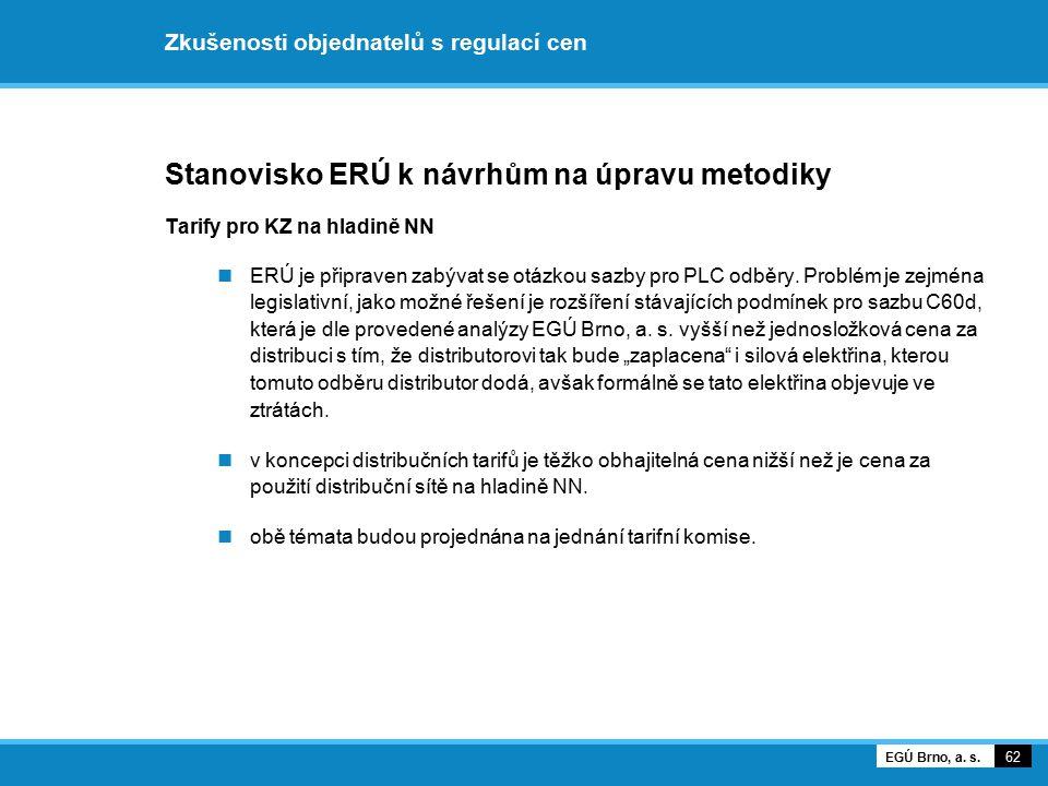Zkušenosti objednatelů s regulací cen Stanovisko ERÚ k návrhům na úpravu metodiky Tarify pro KZ na hladině NN ERÚ je připraven zabývat se otázkou sazb