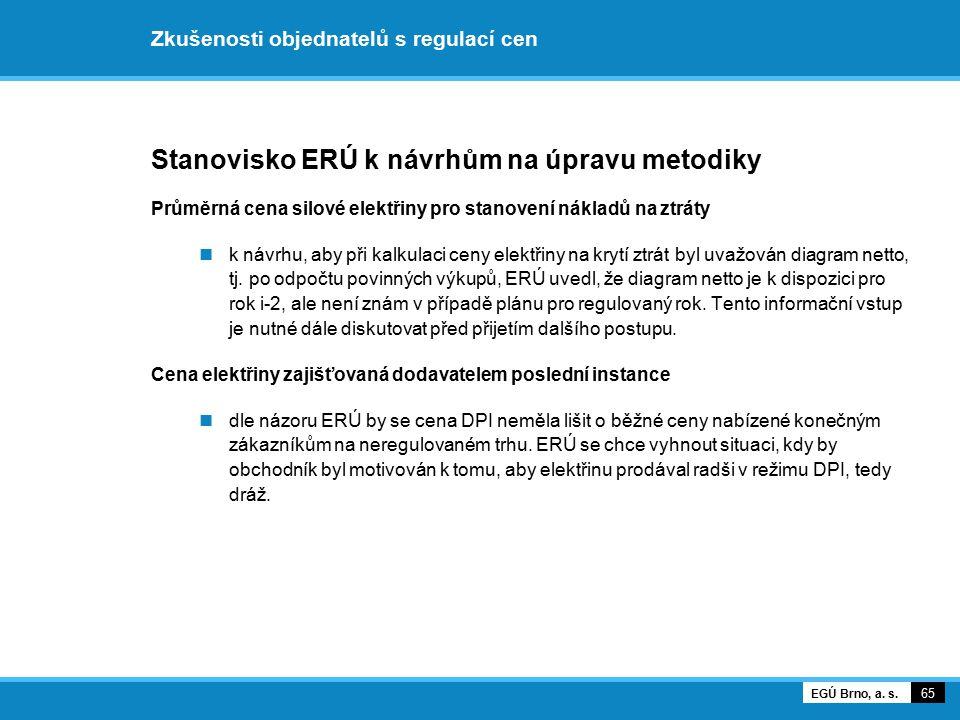 Zkušenosti objednatelů s regulací cen Stanovisko ERÚ k návrhům na úpravu metodiky Průměrná cena silové elektřiny pro stanovení nákladů na ztráty k náv