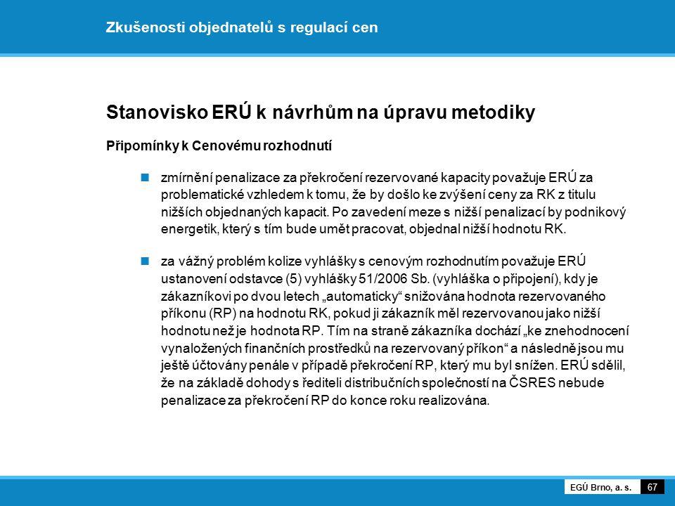 Zkušenosti objednatelů s regulací cen Stanovisko ERÚ k návrhům na úpravu metodiky Připomínky k Cenovému rozhodnutí zmírnění penalizace za překročení r