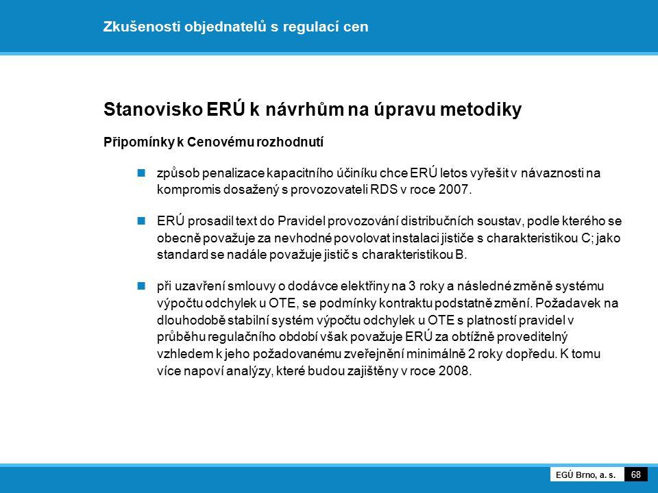 Zkušenosti objednatelů s regulací cen Stanovisko ERÚ k návrhům na úpravu metodiky Připomínky k Cenovému rozhodnutí způsob penalizace kapacitního účiní