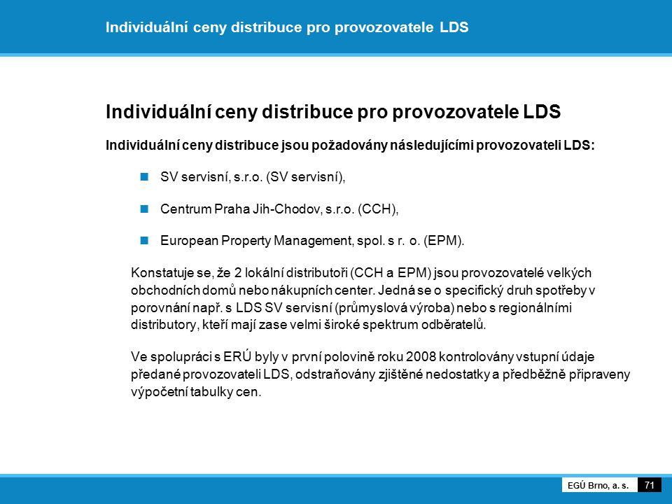 Individuální ceny distribuce pro provozovatele LDS Individuální ceny distribuce jsou požadovány následujícími provozovateli LDS: SV servisní, s.r.o. (