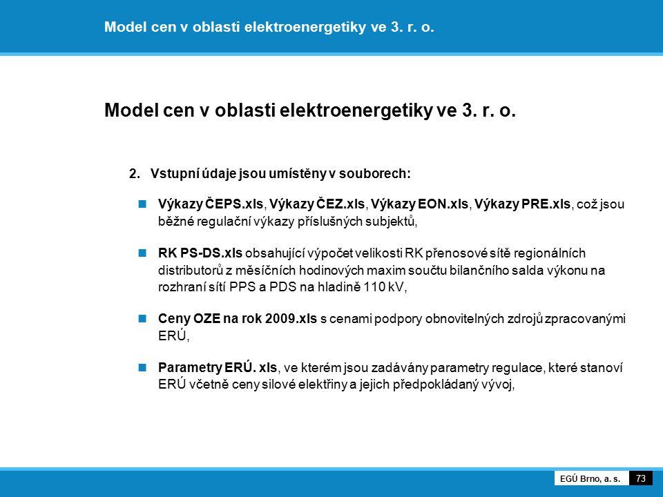 Model cen v oblasti elektroenergetiky ve 3. r. o. 2. Vstupní údaje jsou umístěny v souborech: Výkazy ČEPS.xls, Výkazy ČEZ.xls, Výkazy EON.xls, Výkazy