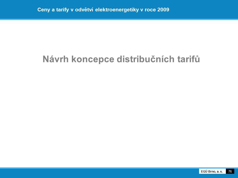 Ceny a tarify v odvětví elektroenergetiky v roce 2009 Návrh koncepce distribučních tarifů 76 EGÚ Brno, a. s.