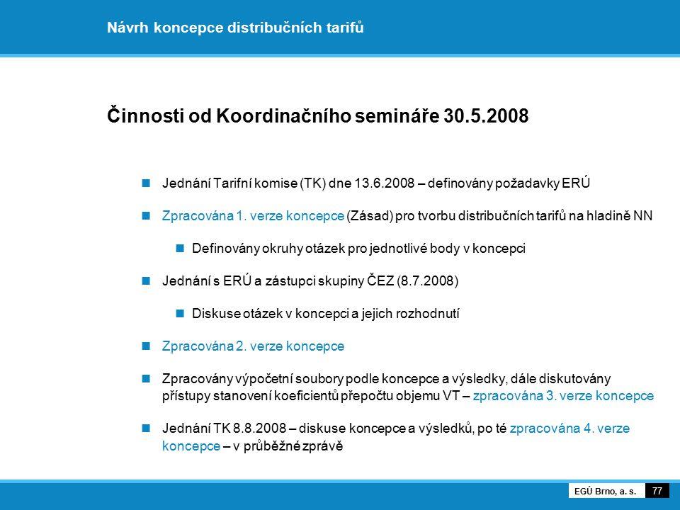 Návrh koncepce distribučních tarifů Činnosti od Koordinačního semináře 30.5.2008 Jednání Tarifní komise (TK) dne 13.6.2008 – definovány požadavky ERÚ