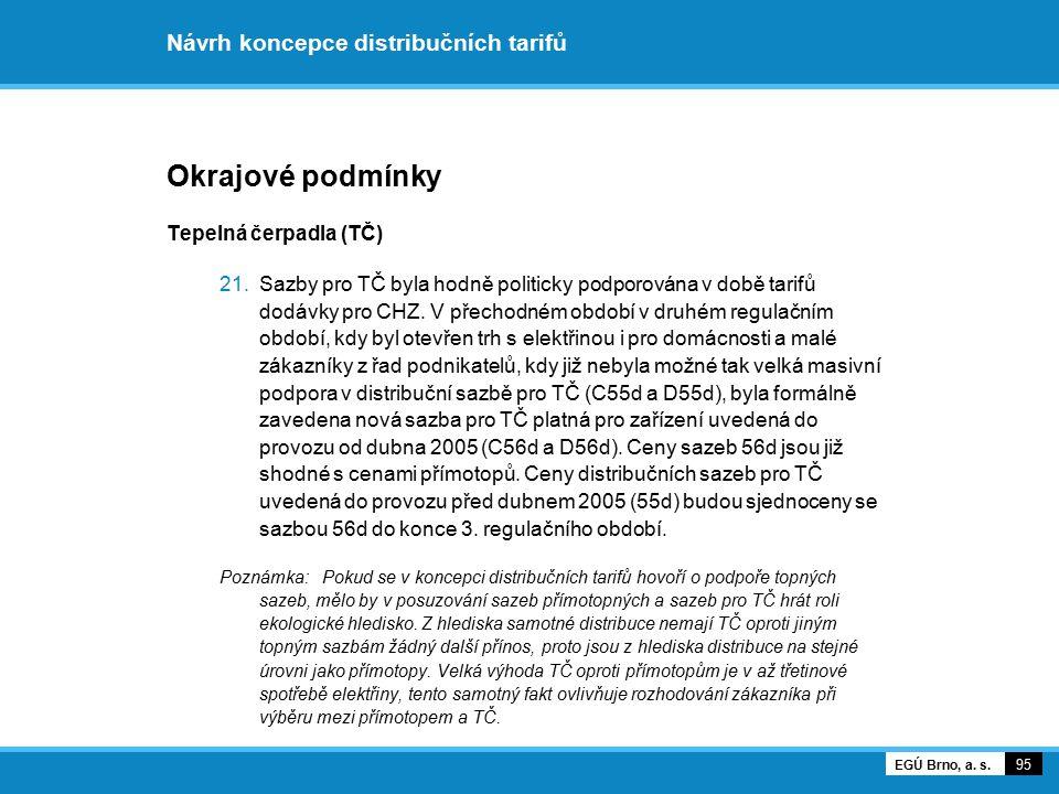 Návrh koncepce distribučních tarifů Okrajové podmínky Tepelná čerpadla (TČ) 21.Sazby pro TČ byla hodně politicky podporována v době tarifů dodávky pro