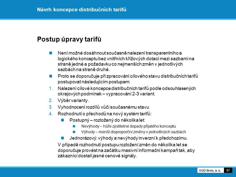 Návrh koncepce distribučních tarifů Postup úpravy tarifů Není možné dosáhnout současně nalezení transparentního a logického konceptu bez vnitřních kří