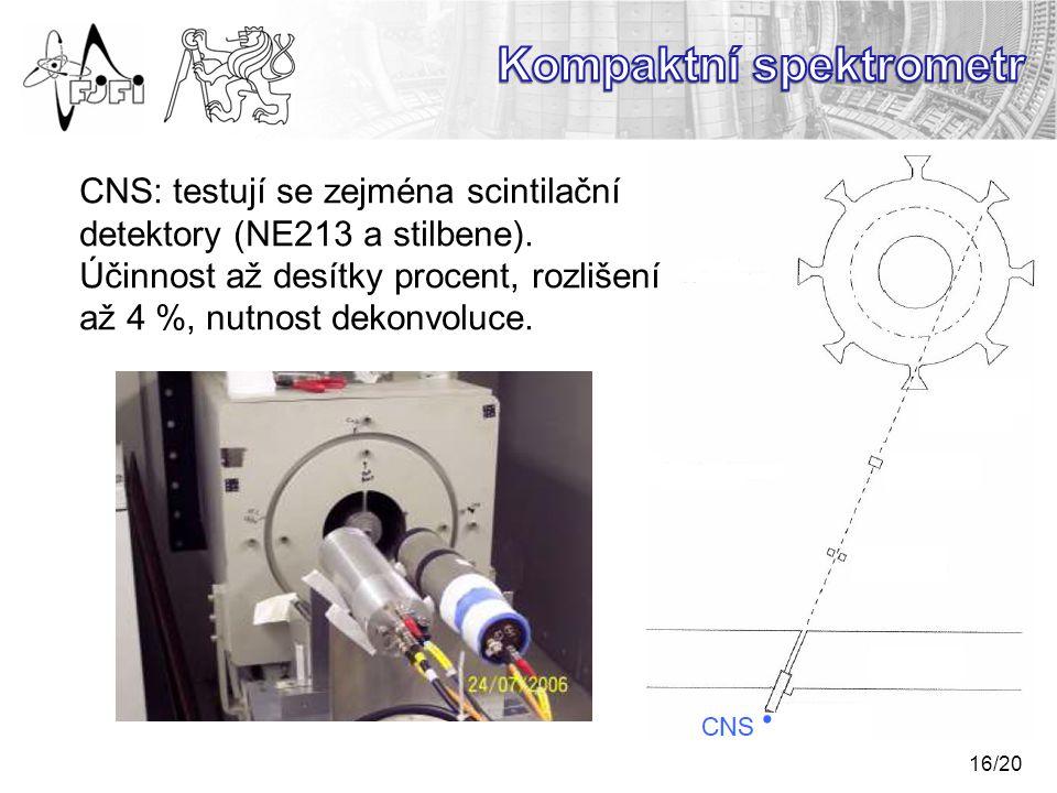 16/20 CNS: testují se zejména scintilační detektory (NE213 a stilbene).
